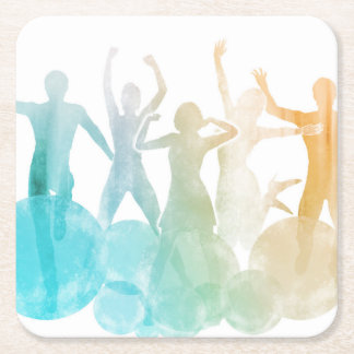Group of Friends Jumping for Joy in Watercolor Square Paper Coaster
