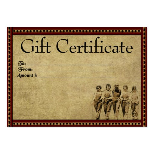 Group of gals prim gift certificate cards zazzle for Zazzle gift certificate