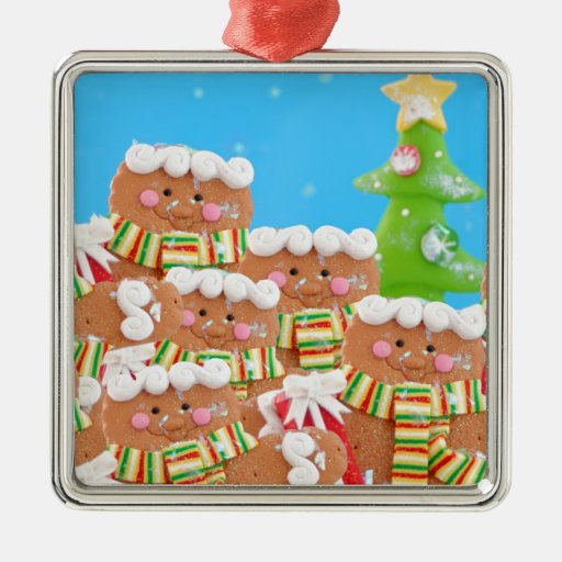Group of gingerbread men christmas tree ornaments