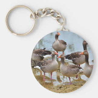 Group of greylag geese keychain