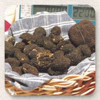 Group of italian expensive black truffles beverage coaster