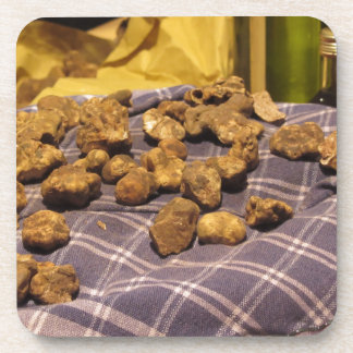 Group of italian expensive white truffles beverage coaster