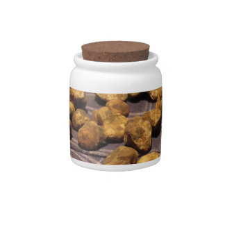 Group of italian expensive white truffles candy jar