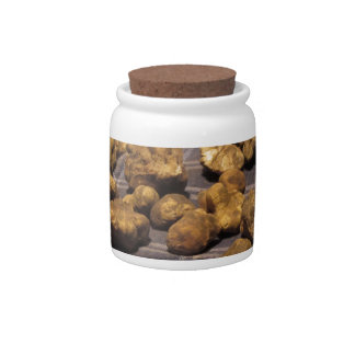 Group of italian expensive white truffles candy jars