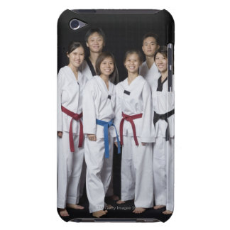 Group of martial arts player standing and iPod touch cover