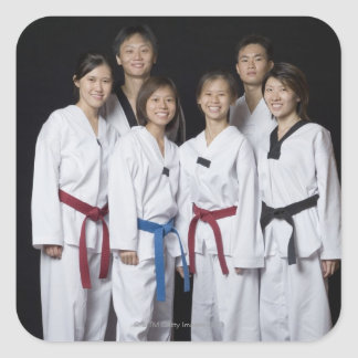 Group of martial arts player standing and square sticker