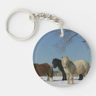 Group of Miniature Horses in the Snow Keychain