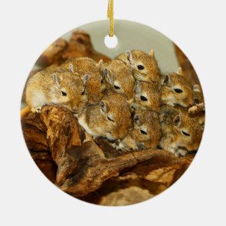 Group of Mongolian Gerbils Meriones Unguiculatus Ceramic Ornament