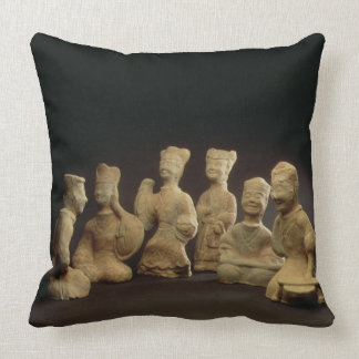 Group of Musicians Dancers and Servants terracot Pillow