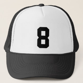 Group of number, number eight 8 black color trucker hat