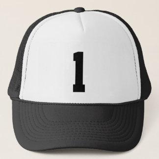 Group of number, number one 1 black color trucker hat