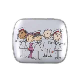 Group of Nurses Tins and Jars w. Candy Candy Tins