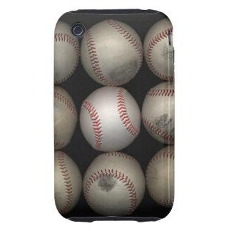 Group of old baseballs on black background iPhone 3 tough case