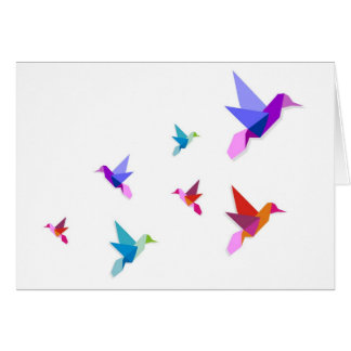 Group of Origami hummingbirds Greeting Card