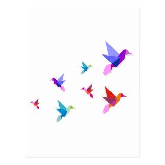 Group of Origami hummingbirds Postcard