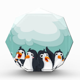 Group of penguin on the ice acrylic award