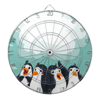 Group of penguin on the ice dartboard with darts