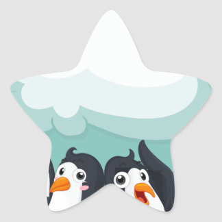 Group of penguin on the ice star sticker