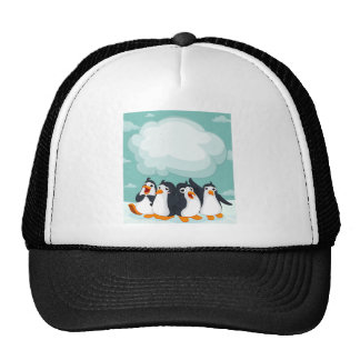 Group of penguin on the ice trucker hat