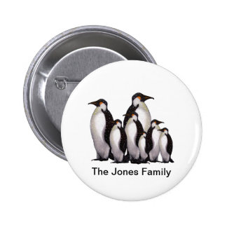 Group of Penguins Oil Pastel Freehand Art Pinback Button
