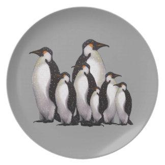 Group of Penguins: Oil Pastel Freehand Art Dinner Plate