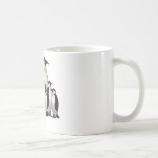 Group of Penguins: Oil Pastel Freehand Art Mugs