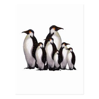 Group of Penguins: Oil Pastel Freehand Art Postcard