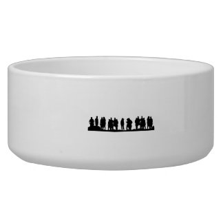 Group of People Silhouette Dog Water Bowl