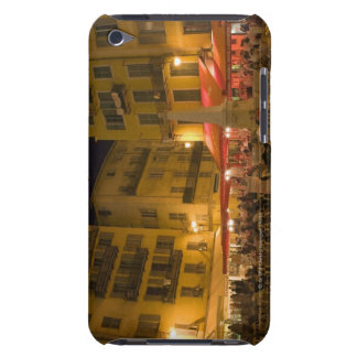 Group of people sitting at a sidewalk cafe, barely there iPod cases