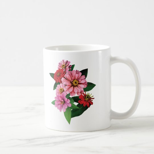 Group of Pink and Red Zinnias Coffee Mug