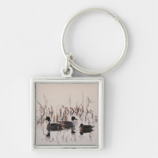 Group of Pintail Ducks Gather and Swims in a lake Silver-Colored Square Keychain