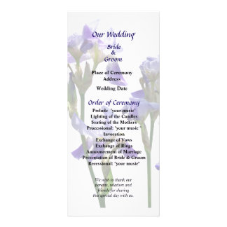 Group of Purple Irises Wedding Program