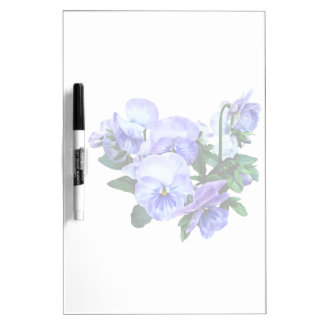 Group of Purple Pansies and Leaves Dry-Erase Board