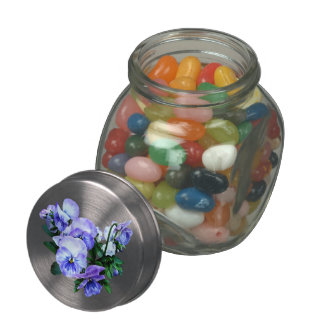 Group of Purple Pansies and Leaves Jelly Belly Candy Jars