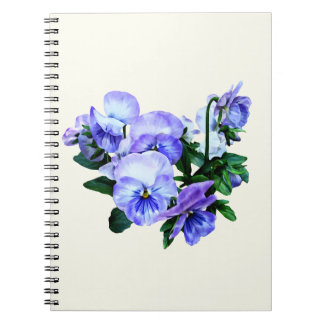 Group of Purple Pansies and Leaves Spiral Notebook