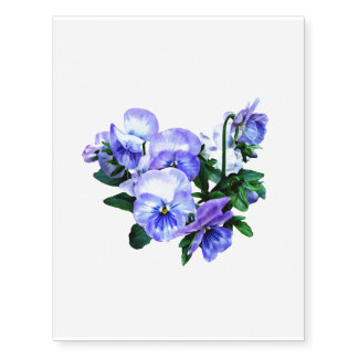 Group of Purple Pansies and Leaves Temporary Tattoos