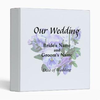 Group of Purple Pansies and Leaves Wedding Product Binders