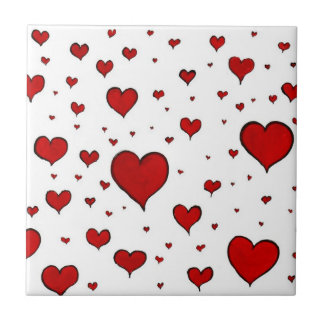 Group of Red Hearts Ceramic Tile