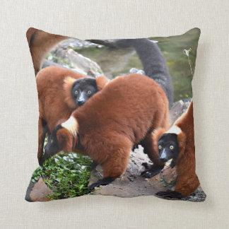 group of red ruffed lemurs c animal throw pillow