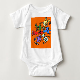Group of robots 3 baby bodysuit