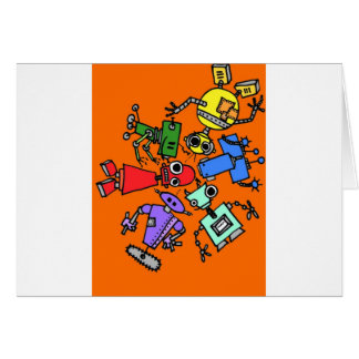 Group of robots 3 greeting cards