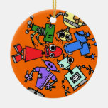 Group of robots 3 christmas tree ornaments