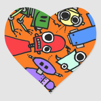 Group of robots 3 heart sticker