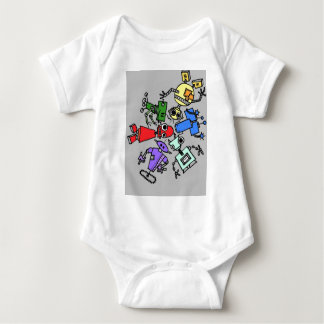 Group of robots 4 baby bodysuit