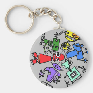Group of robots 4 basic round button keychain