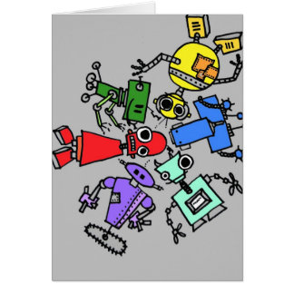 Group of robots 4 card