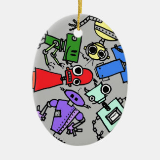Group of robots 4 ceramic ornament