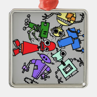Group of robots 4 metal ornament