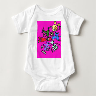 Group of robots 5 baby bodysuit