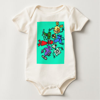 Group of robots 6 baby bodysuit
